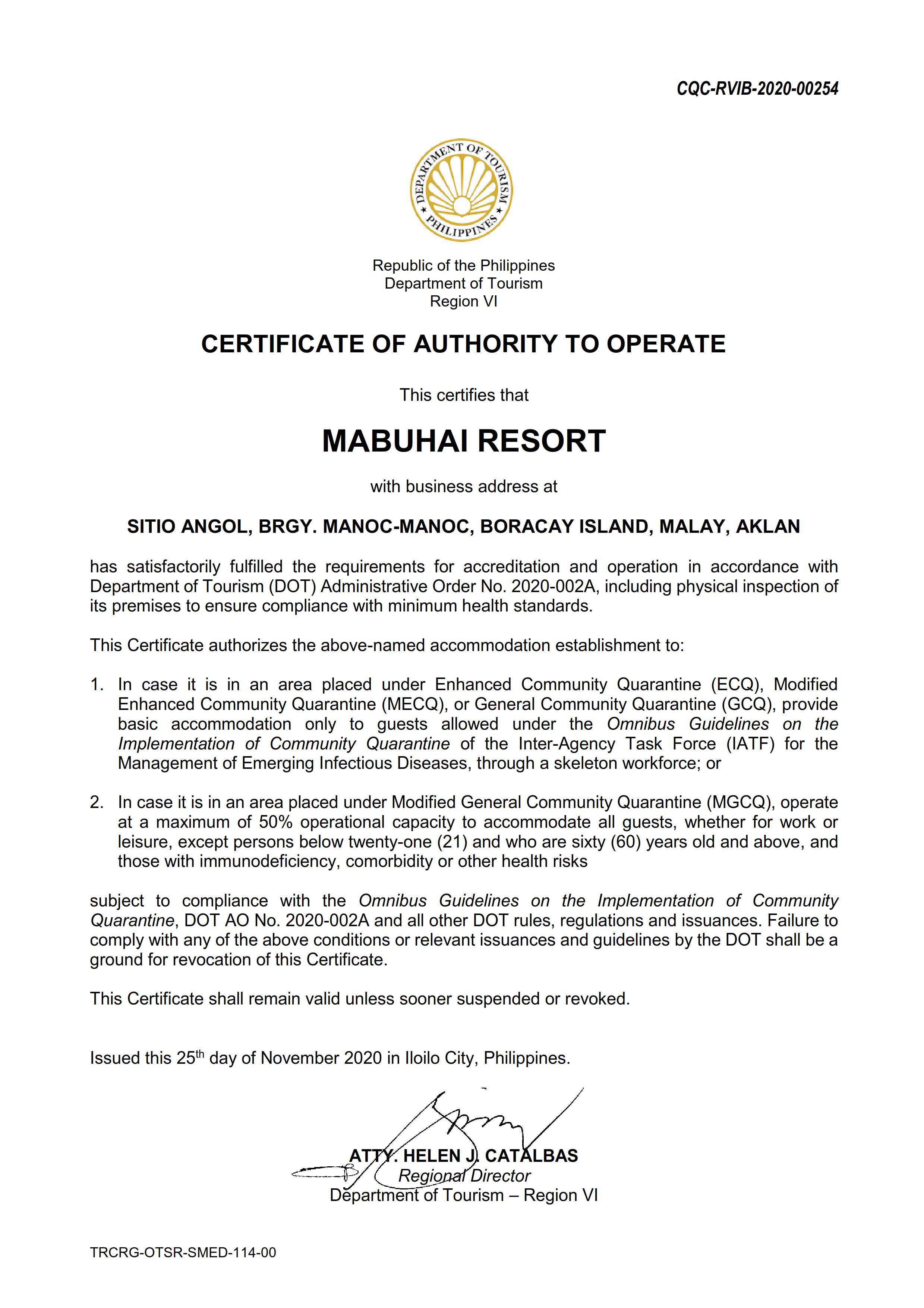 Mabuhay Certificate